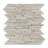 Ivory Travertine Tumbled Random Strip Mosaic Tile - American Tile Depot - Commercial and Residential (Interior & Exterior), Indoor, Outdoor, Shower, Backsplash, Bathroom, Kitchen, Deck & Patio, Decorative, Floor, Wall, Ceiling, Powder Room - 1
