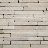Ivory Travertine Tumbled Random Strip Mosaic Tile - American Tile Depot - Commercial and Residential (Interior & Exterior), Indoor, Outdoor, Shower, Backsplash, Bathroom, Kitchen, Deck & Patio, Decorative, Floor, Wall, Ceiling, Powder Room - 2