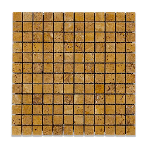 1 X 1 Gold / Yellow Travertine Tumbled Mosaic Tile - American Tile Depot - Shower, Backsplash, Bathroom, Kitchen, Deck & Patio, Decorative, Floor, Wall, Ceiling, Powder Room, Indoor, Outdoor, Commercial, Residential, Interior, Exterior
