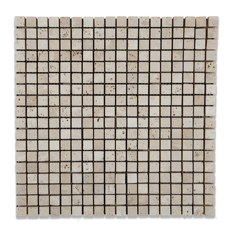 5/8 X 5/8 Ivory Travertine Tumbled Mosaic Tile - American Tile Depot - Commercial and Residential (Interior & Exterior), Indoor, Outdoor, Shower, Backsplash, Bathroom, Kitchen, Deck & Patio, Decorative, Floor, Wall, Ceiling, Powder Room - 1
