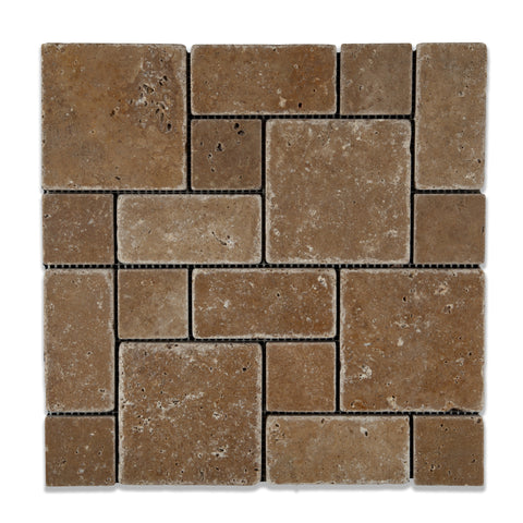 Noce Travertine 3-Pieced Mini-Pattern Tumbled Mosaic Tile - American Tile Depot - Commercial and Residential (Interior & Exterior), Indoor, Outdoor, Shower, Backsplash, Bathroom, Kitchen, Deck & Patio, Decorative, Floor, Wall, Ceiling, Powder Room - 1