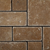 Noce Travertine 3-Pieced Mini-Pattern Tumbled Mosaic Tile - American Tile Depot - Commercial and Residential (Interior & Exterior), Indoor, Outdoor, Shower, Backsplash, Bathroom, Kitchen, Deck & Patio, Decorative, Floor, Wall, Ceiling, Powder Room - 2