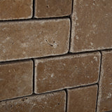 Noce Travertine 3-Pieced Mini-Pattern Tumbled Mosaic Tile - American Tile Depot - Commercial and Residential (Interior & Exterior), Indoor, Outdoor, Shower, Backsplash, Bathroom, Kitchen, Deck & Patio, Decorative, Floor, Wall, Ceiling, Powder Room - 3