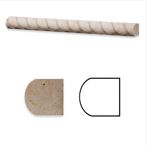 Ivory Travertine Honed 1 X 12 Rope Liner - American Tile Depot - Commercial and Residential (Interior & Exterior), Indoor, Outdoor, Shower, Backsplash, Bathroom, Kitchen, Deck & Patio, Decorative, Floor, Wall, Ceiling, Powder Room - 1