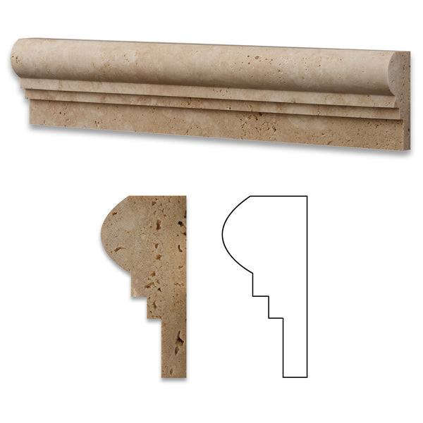 Ivory Travertine OG-2 Chair Rail Molding Trim Honed