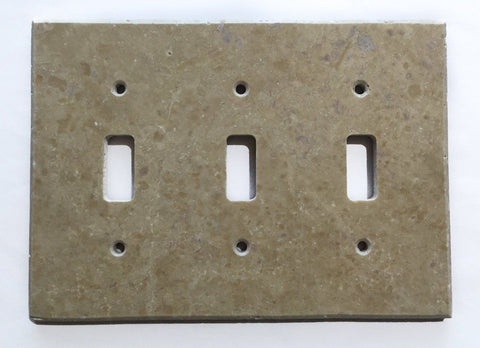 Light Walnut Travertine Triple Toggle Switch Wall Plate / Switch Plate / Cover - Honed - American Tile Depot - Commercial and Residential (Interior & Exterior), Indoor, Outdoor, Shower, Backsplash, Bathroom, Kitchen, Deck & Patio, Decorative, Floor, Wall, Ceiling, Powder Room - 1