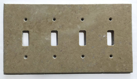 Light Walnut Travertine Quadruple Toggle Switch Wall Plate / Switch Plate / Cover - Honed - American Tile Depot - Commercial and Residential (Interior & Exterior), Indoor, Outdoor, Shower, Backsplash, Bathroom, Kitchen, Deck & Patio, Decorative, Floor, Wall, Ceiling, Powder Room - 1