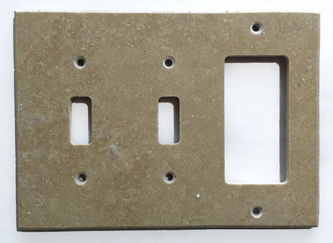 Light Walnut Travertine Double Toggle Rocker Switch Wall Plate / Switch Plate / Cover - Honed - American Tile Depot - Commercial and Residential (Interior & Exterior), Indoor, Outdoor, Shower, Backsplash, Bathroom, Kitchen, Deck & Patio, Decorative, Floor, Wall, Ceiling, Powder Room - 1