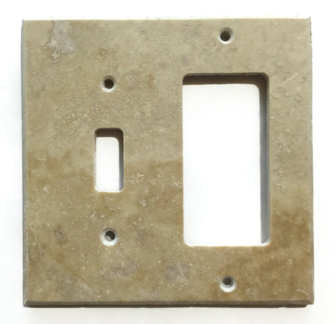 Light Walnut Travertine Toggle Rocker Switch Wall Plate / Switch Plate / Cover - Honed - American Tile Depot - Commercial and Residential (Interior & Exterior), Indoor, Outdoor, Shower, Backsplash, Bathroom, Kitchen, Deck & Patio, Decorative, Floor, Wall, Ceiling, Powder Room - 1