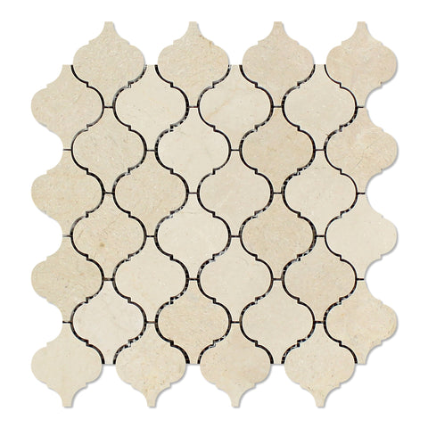 Crema Marfil Marble Honed Lantern Arabesque Mosaic Tile - American Tile Depot - Commercial and Residential (Interior & Exterior), Indoor, Outdoor, Shower, Backsplash, Bathroom, Kitchen, Deck & Patio, Decorative, Floor, Wall, Ceiling, Powder Room - 1