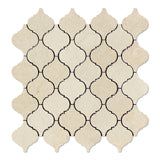 Crema Marfil Marble Polished Lantern Arabesque Mosaic Tile - American Tile Depot - Commercial and Residential (Interior & Exterior), Indoor, Outdoor, Shower, Backsplash, Bathroom, Kitchen, Deck & Patio, Decorative, Floor, Wall, Ceiling, Powder Room - 1