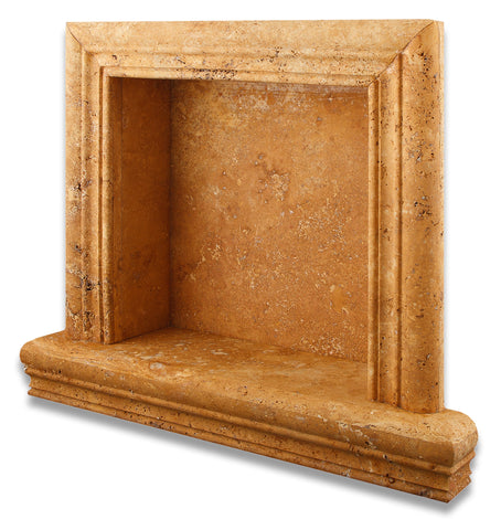 Gold / Yellow Travertine Hand-Made Custom Shampoo Niche / Shelf - SMALL - Honed - American Tile Depot - Commercial and Residential (Interior & Exterior), Indoor, Outdoor, Shower, Backsplash, Bathroom, Kitchen, Deck & Patio, Decorative, Floor, Wall, Ceiling, Powder Room - 1