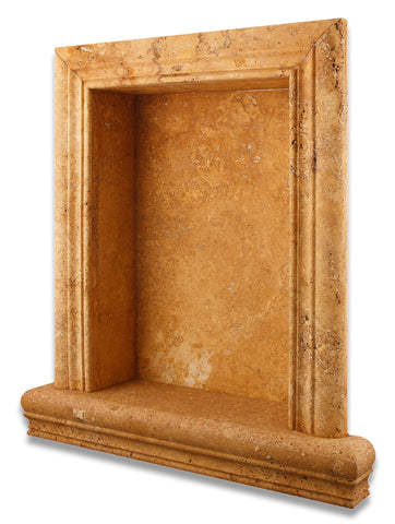 Gold / Yellow Travertine Hand-Made Custom Shampoo Niche / Shelf - LARGE - Honed - American Tile Depot - Commercial and Residential (Interior & Exterior), Indoor, Outdoor, Shower, Backsplash, Bathroom, Kitchen, Deck & Patio, Decorative, Floor, Wall, Ceiling, Powder Room - 1