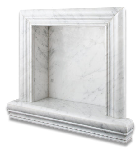 Carrara White Marble Hand-Made Custom Shampoo Niche / Shelf - SMALL - Polished - American Tile Depot - Commercial and Residential (Interior & Exterior), Indoor, Outdoor, Shower, Backsplash, Bathroom, Kitchen, Deck & Patio, Decorative, Floor, Wall, Ceiling, Powder Room - 1
