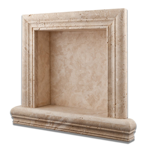 Ivory Travertine Hand-Made Custom Shampoo Niche / Shelf - SMALL - Honed - American Tile Depot - Commercial and Residential (Interior & Exterior), Indoor, Outdoor, Shower, Backsplash, Bathroom, Kitchen, Deck & Patio, Decorative, Floor, Wall, Ceiling, Powder Room - 1