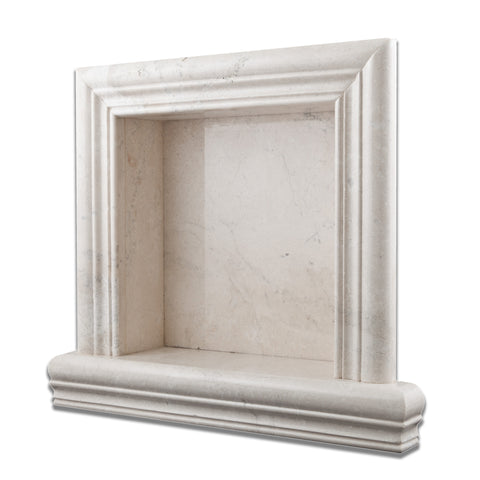 White Pearl Marble Hand-Made Custom Shampoo Niche / Shelf - SMALL - Polished