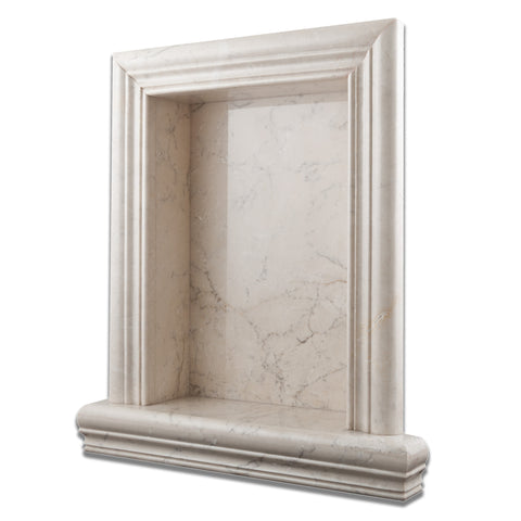 White Pearl Marble Hand-Made Custom Shampoo Niche / Shelf - LARGE - Polished