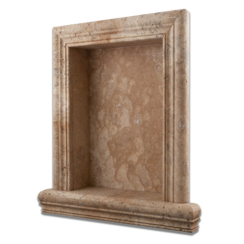 Philadelphia Travertine Hand-Made Custom Shampoo Niche / Shelf - LARGE - Honed