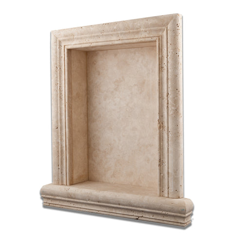 Ivory Travertine Hand-Made Custom Shampoo Niche / Shelf - LARGE - Honed - American Tile Depot - Commercial and Residential (Interior & Exterior), Indoor, Outdoor, Shower, Backsplash, Bathroom, Kitchen, Deck & Patio, Decorative, Floor, Wall, Ceiling, Powder Room - 1