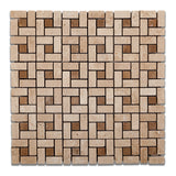 Ivory Travertine Tumbled Mini Pinwheel Mosaic Tile w/ Noce Dots - American Tile Depot - Commercial and Residential (Interior & Exterior), Indoor, Outdoor, Shower, Backsplash, Bathroom, Kitchen, Deck & Patio, Decorative, Floor, Wall, Ceiling, Powder Room - 1