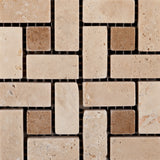 Ivory Travertine Tumbled Mini Pinwheel Mosaic Tile w/ Noce Dots - American Tile Depot - Commercial and Residential (Interior & Exterior), Indoor, Outdoor, Shower, Backsplash, Bathroom, Kitchen, Deck & Patio, Decorative, Floor, Wall, Ceiling, Powder Room - 3
