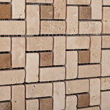 Ivory Travertine Tumbled Mini Pinwheel Mosaic Tile w/ Noce Dots - American Tile Depot - Commercial and Residential (Interior & Exterior), Indoor, Outdoor, Shower, Backsplash, Bathroom, Kitchen, Deck & Patio, Decorative, Floor, Wall, Ceiling, Powder Room - 2
