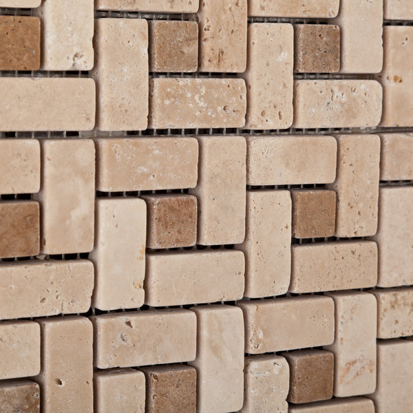 Single Piece Natural Stone Effect Travertine Wall Tile L: Ivory Travertine Mini Pinwheel Mosaic Tile Tumbled-Noce Dots