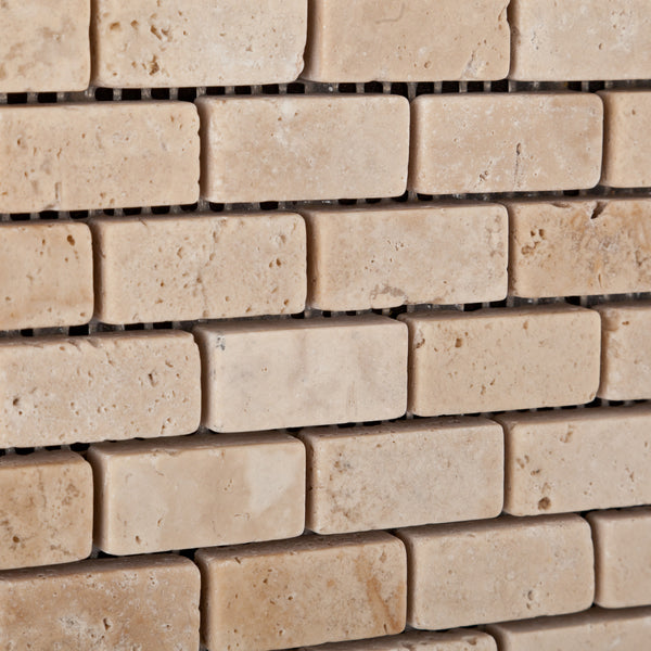 Ivory Travertine Mini Brick Mosaic Tile Tumbled