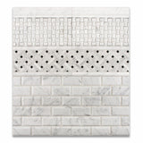 Carrara White Marble Honed Stanza Basketweave Mosaic Tile w/ Black Dots - American Tile Depot - Commercial and Residential (Interior & Exterior), Indoor, Outdoor, Shower, Backsplash, Bathroom, Kitchen, Deck & Patio, Decorative, Floor, Wall, Ceiling, Powder Room - 5