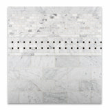 Carrara White Marble Honed Basketweave Mosaic Tile w/ Black Dots - American Tile Depot - Commercial and Residential (Interior & Exterior), Indoor, Outdoor, Shower, Backsplash, Bathroom, Kitchen, Deck & Patio, Decorative, Floor, Wall, Ceiling, Powder Room - 4