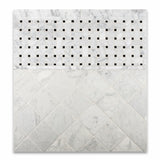 Carrara White Marble Honed Basketweave Mosaic Tile w/ Black Dots - American Tile Depot - Commercial and Residential (Interior & Exterior), Indoor, Outdoor, Shower, Backsplash, Bathroom, Kitchen, Deck & Patio, Decorative, Floor, Wall, Ceiling, Powder Room - 5