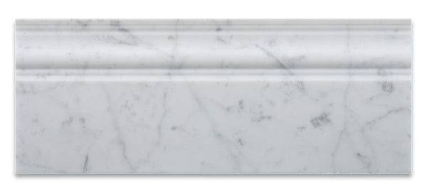 Carrara White Marble Baseboard Trim Molding Honed