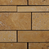 Gold / Yellow Travertine Honed Random Strip Mosaic Tile - American Tile Depot - Commercial and Residential (Interior & Exterior), Indoor, Outdoor, Shower, Backsplash, Bathroom, Kitchen, Deck & Patio, Decorative, Floor, Wall, Ceiling, Powder Room - 2
