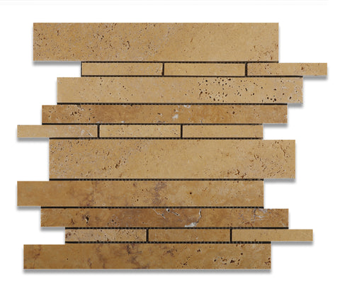 Gold / Yellow Travertine Honed Random Strip Mosaic Tile - American Tile Depot - Commercial and Residential (Interior & Exterior), Indoor, Outdoor, Shower, Backsplash, Bathroom, Kitchen, Deck & Patio, Decorative, Floor, Wall, Ceiling, Powder Room - 1