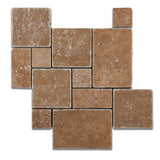Noce Travertine 4-Pieced OPUS Mini-Pattern Tumbled Mosaic Tile - American Tile Depot - Commercial and Residential (Interior & Exterior), Indoor, Outdoor, Shower, Backsplash, Bathroom, Kitchen, Deck & Patio, Decorative, Floor, Wall, Ceiling, Powder Room - 1