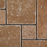 Noce Travertine 4-Pieced OPUS Mini-Pattern Tumbled Mosaic Tile - American Tile Depot - Commercial and Residential (Interior & Exterior), Indoor, Outdoor, Shower, Backsplash, Bathroom, Kitchen, Deck & Patio, Decorative, Floor, Wall, Ceiling, Powder Room - 2