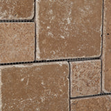 Noce Travertine 4-Pieced OPUS Mini-Pattern Tumbled Mosaic Tile - American Tile Depot - Commercial and Residential (Interior & Exterior), Indoor, Outdoor, Shower, Backsplash, Bathroom, Kitchen, Deck & Patio, Decorative, Floor, Wall, Ceiling, Powder Room - 3