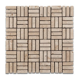 Ivory Travertine Tumbled Triple Strip Medici Mosaic Tile - American Tile Depot - Commercial and Residential (Interior & Exterior), Indoor, Outdoor, Shower, Backsplash, Bathroom, Kitchen, Deck & Patio, Decorative, Floor, Wall, Ceiling, Powder Room - 1