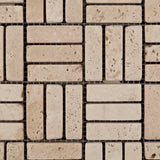 Ivory Travertine Tumbled Triple Strip Medici Mosaic Tile - American Tile Depot - Commercial and Residential (Interior & Exterior), Indoor, Outdoor, Shower, Backsplash, Bathroom, Kitchen, Deck & Patio, Decorative, Floor, Wall, Ceiling, Powder Room - 2