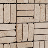 Ivory Travertine Tumbled Triple Strip Medici Mosaic Tile - American Tile Depot - Commercial and Residential (Interior & Exterior), Indoor, Outdoor, Shower, Backsplash, Bathroom, Kitchen, Deck & Patio, Decorative, Floor, Wall, Ceiling, Powder Room - 3