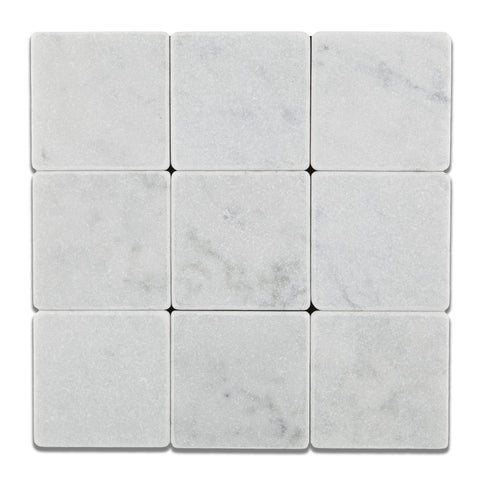 4 X 4 Carrara White Marble Tumbled Field Tile - American Tile Depot - Shower, Backsplash, Bathroom, Kitchen, Deck & Patio, Decorative, Floor, Wall, Ceiling, Powder Room, Indoor, Outdoor, Commercial, Residential, Interior, Exterior