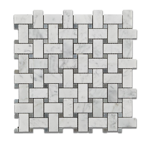 Carrara White Marble Polished Basketweave Mosaic Tile w/ Blue-Gray Dots - American Tile Depot - Commercial and Residential (Interior & Exterior), Indoor, Outdoor, Shower, Backsplash, Bathroom, Kitchen, Deck & Patio, Decorative, Floor, Wall, Ceiling, Powder Room - 1