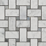 Carrara White Marble Polished Basketweave Mosaic Tile w/ Blue-Gray Dots - American Tile Depot - Commercial and Residential (Interior & Exterior), Indoor, Outdoor, Shower, Backsplash, Bathroom, Kitchen, Deck & Patio, Decorative, Floor, Wall, Ceiling, Powder Room - 2