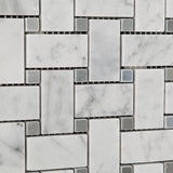Carrara White Marble Polished Basketweave Mosaic Tile w/ Blue-Gray Dots - American Tile Depot - Commercial and Residential (Interior & Exterior), Indoor, Outdoor, Shower, Backsplash, Bathroom, Kitchen, Deck & Patio, Decorative, Floor, Wall, Ceiling, Powder Room - 3