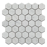 "Carrara White Marble Polished 2"" Hexagon Mosaic Tile - American Tile Depot - Commercial and Residential (Interior & Exterior), Indoor, Outdoor, Shower, Backsplash, Bathroom, Kitchen, Deck & Patio, Decorative, Floor, Wall, Ceiling, Powder Room - 1"