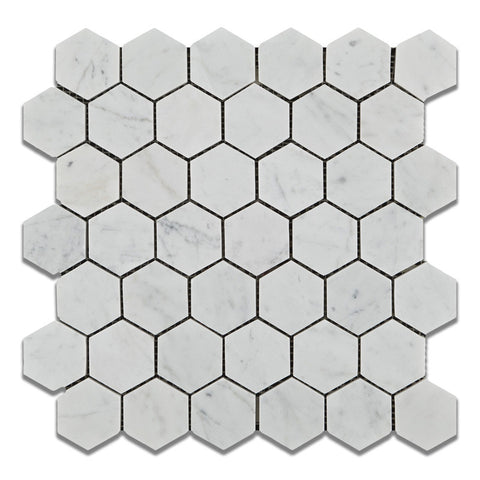 Carrara White Marble Hexagon Mosaic Tile Polished - 2 carrara marble hexagon floors