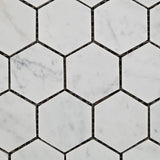 "Carrara White Marble Honed 2"" Hexagon Mosaic Tile - American Tile Depot - Commercial and Residential (Interior & Exterior), Indoor, Outdoor, Shower, Backsplash, Bathroom, Kitchen, Deck & Patio, Decorative, Floor, Wall, Ceiling, Powder Room - 2"
