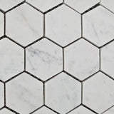 "Carrara White Marble Polished 2"" Hexagon Mosaic Tile - American Tile Depot - Commercial and Residential (Interior & Exterior), Indoor, Outdoor, Shower, Backsplash, Bathroom, Kitchen, Deck & Patio, Decorative, Floor, Wall, Ceiling, Powder Room - 3"