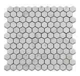 "Carrara White Marble Polished 1"" Mini Hexagon Mosaic Tile - American Tile Depot - Commercial and Residential (Interior & Exterior), Indoor, Outdoor, Shower, Backsplash, Bathroom, Kitchen, Deck & Patio, Decorative, Floor, Wall, Ceiling, Powder Room - 1"