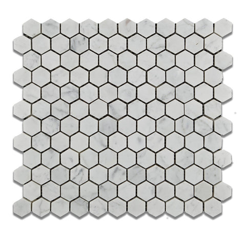 "Carrara White Marble Honed 1"" Mini Hexagon Mosaic Tile - American Tile Depot - Commercial and Residential (Interior & Exterior), Indoor, Outdoor, Shower, Backsplash, Bathroom, Kitchen, Deck & Patio, Decorative, Floor, Wall, Ceiling, Powder Room - 1"
